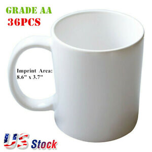 36pcs 11oz 3d Sublimation Blank White Mugs A Grade Heat Press Coated Mugs Us