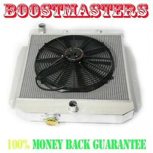 For 55 58 Chevy k series Truck Pickup 3 Core Performance Radiator 16 Fan