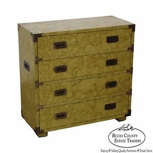 Henredon Vintage Faux Painted Campaign Style Chest Of Drawers