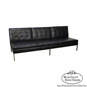 Florence Knoll Mid Century Modern Black Leather Chrome Frame Armless Sofa B