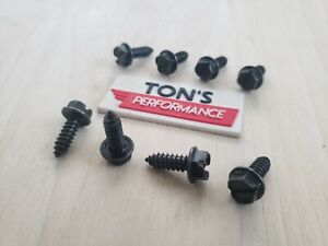 8 Pc License Plate Screws Black Standard Zinc Plated Standard Car Truck Suv Set