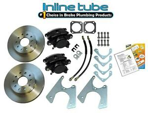 67 81 Staggered Rear End Axle Disc Brake Conversion Kit 10 12 Bolt Stand Rotor