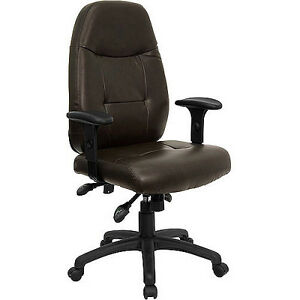Leather Executive High back Office Chair With Built in Lumbar Support