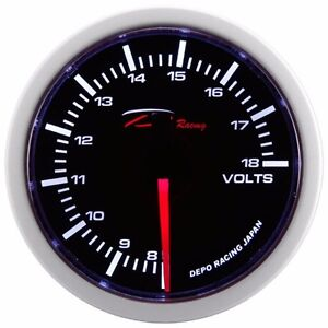 52mm Volt Meter Black Dial Smoke Lens Super White Led Display