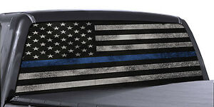 Truck Rear Window Decal Thin Blue Line American Flag Perforated Vinyl Universal