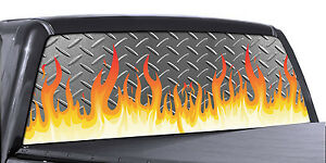 Fgd Truck Rear Window Wrap Diamond Plate Flame Design Perforated Vinyl Decal