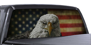 Fgd Truck Rear Window Decal Eagle American Flag Perforated Vinyl Wrap Universal
