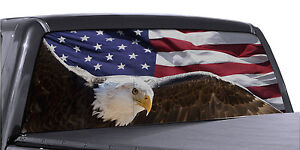 Fgd Truck Rear Window Wrap Soaring Eagle American Flag Perforated Decal