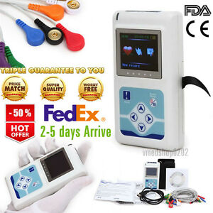 Us 12 lead Ecg Holter 24hrs Heart Rate Monitor Recorder Software Analyze Tlc5000