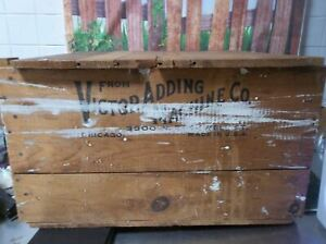 Vintage Antique Burrough S Adding Machine Wood Box Shipping Crate