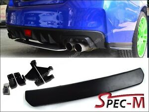 Sti Look Rear Bumper Diffuser Spoiler Lip Matte Black For Subaru Wrx Sedan 2015