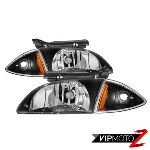 2000 2002 Chevrolet Cavalier Factory Style Black Headlights Corner Lamps Combo