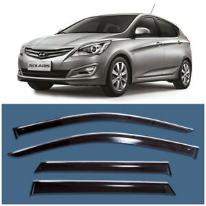 Chrome Trim Window Visors Guard Vent Deflectors For Hyundai Solaris Hb 2011 2016