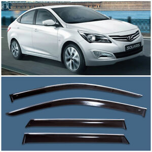 Chrome Trim Window Visors Guard Vent Deflectors For Hyundai Solaris Verna Sedan