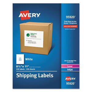 Avery White Shipping Labels Laser inkjet 8 1 2 X 11 White 250 box 95920