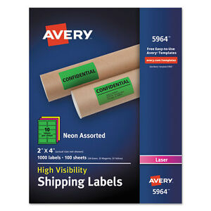 Avery Neon Shipping Label Laser 2 X 4 Neon Assorted 1000 box 5964