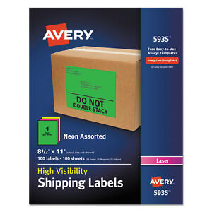 Avery Neon Shipping Label Laser 8 1 2 X 11 Neon Assorted 100 box 5935