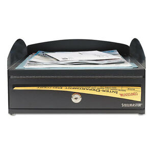 Steelmaster Lockit Inbox Desk Tray Single Tier W locking Box 11 X 14 1 4 X 5 7 8