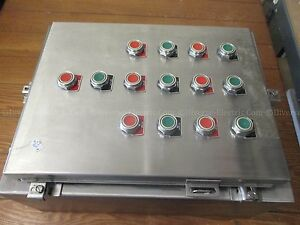 Hoffman A20h1608sslp Stainless Steel Enclosure 20x16x8in W 14 Pushbuttons