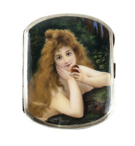 Sterling Silver Hand Painted Enamel Portrait Cigarette Case Eve Nude Figure