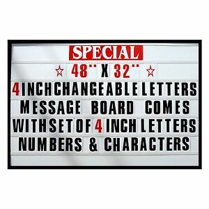 4 Big Changeable Letter Message Sign Menu Price Marquee Reader Board 48 x 32