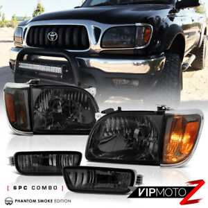 Smoked 6pc Kit For 2001 2004 Toyota Tacoma Corner Signal Bumper Head Lights