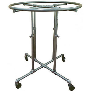 Garment Display Round Pipe Rack 36 Adjustable Retail Clothing Store Fixture New