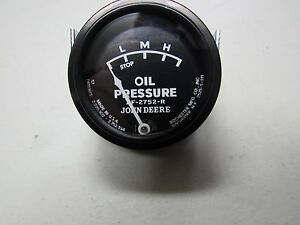 John Deere 50 60 70 Tractor Black Faced Oil Pressure Gauge W Studs 5723