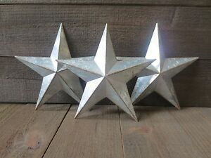 Lot Of 3 Galvanized Primitive Rusty Metal Stars 10 Country Tin Barn Americana