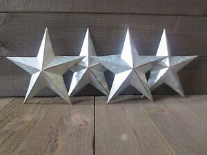 Lot Of 4 Galvanized Primitive Rusty Metal Stars 10 Country Tin Barn Americana
