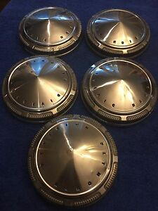 Set Of 5 Stainless Mopar Plymouth Division 9 Poverty Hubcaps Dog Dish Hub Caps