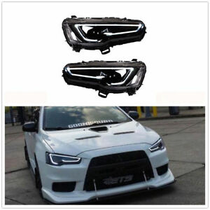 Led Headlights For Mitsubishi Lancer Evo X 2008 2017 Audi Style Blackout Light
