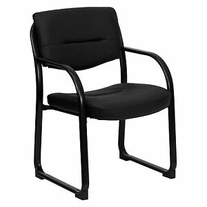 Leather Ultra Executive Guest And Reception Chair With Sled Base Black