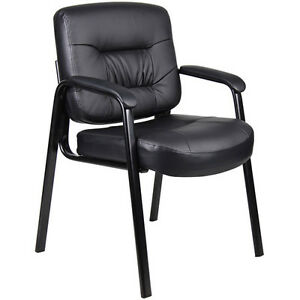 Boss Office Products Executive Mid back Leatherplus Guest Reception Chair Blac