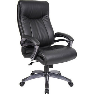 Boss Leatherplus Pillow Top Executive Chair With Padded Armrests