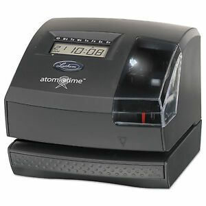 Lathem Time 1600e Wireless Atomic Time Recorder With Tru align Feature Dark Gr