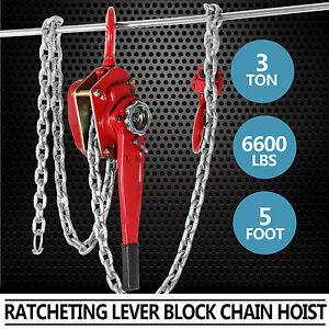 3ton 5ft Ratcheting Lever Come Along Block Chain Hoist Puller Pulley Pro