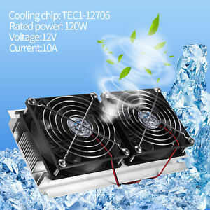 Thermoelectric Peltier Refrigeration Cooling System Radiator Cooler Double Fan