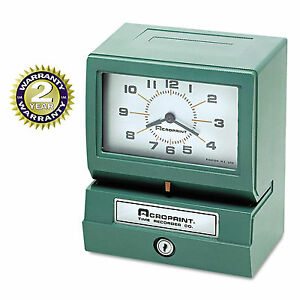 Acroprint Model 150 Analog Automatic Print Time Clock With Month date 1 12 Hour