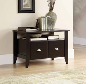 Utility Stand File Cabinet Wood Drawer Shelf Storage Home Office Furniture Brown