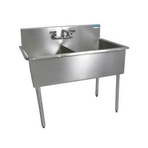 Bk Resources Bk8bs 2 18 12 2 Compartment Budget Sink 18 X 18 Stainless Steel
