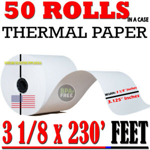 50 Pcs Rolls Pos Receipt Thermal Paper Printer Star Epson Ibm 3 1 8 80mm X 230