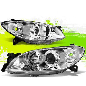 Pair Chrome Housing Projector Headlight Clear Corner For 04 09 Mazda3 Bk Sedan