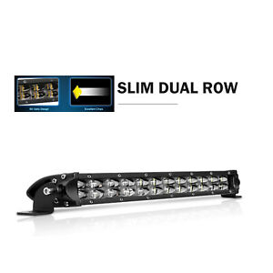 2x Single Row 12inch Slim Led Light Bar Spot Flood Truck Pickup Tractor 10 14in