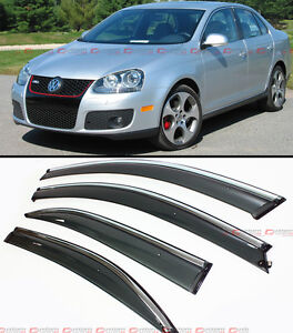 For 06 10 Vw Mk5 Jetta Sedan Smoke Window Visor Deflector W Chrome Trim Clips
