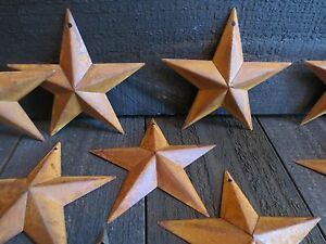 Lot Of 10 Rusty Tin Barn Stars 5 5 In 5 1 2 Dimensional Primitive Country Craft