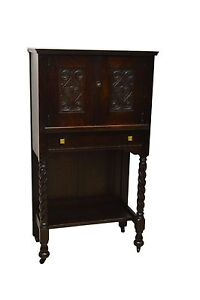 Antique Mission Style Oak Bar Liquor Cabinet Drinks