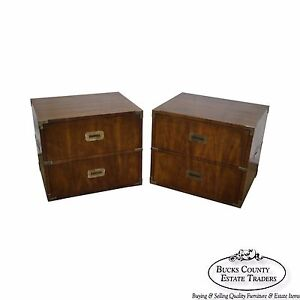 Henredon Walnut Campaign Style Pair Of 2 Drawer Chests Nightstands
