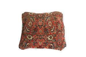 Antique Herati Bijar Rug Fragment Pillow