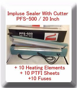 20 Pfs 500c Hand Impulse Sealer With Cutter 10 Heating Elements 10 Ptfi Sheets
